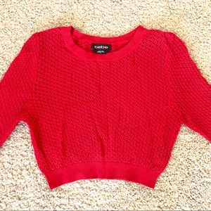 BEBE Red Cropped Sweater